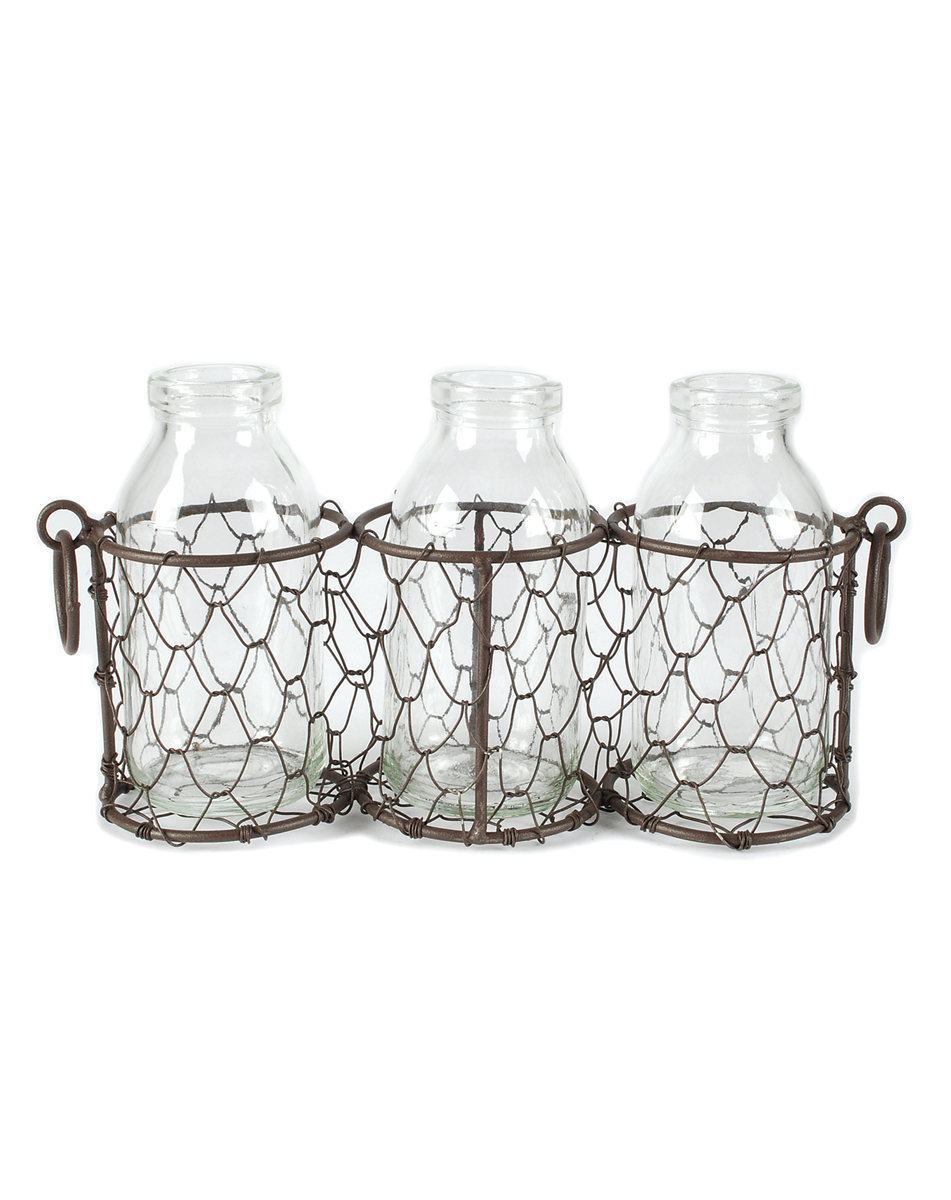 Rustic Three Glass Bottles With Wire Basket